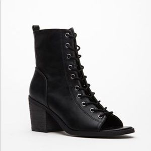Forever 21 lace up peep toe bootie